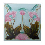 """AN022 Art Nouveau Reproduction Antique Tile<br><div class=""""desc"""">Historical antique tile reproduced on a smooth surface 4.25&quot; or 6&quot; ceramic tile. Perfect for interior tile wall accents, backsplashes, fireplace surrounds, bathroom and showers walls, kitchens and craft projects. Not intended for outdoor use. Our tiles are copies of costly authentic original antique tiles. Suggestion: Order one tile to review...</div>"""