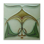 """AN026 Art Nouveau Reproduction Antique Tile<br><div class=""""desc"""">Historical antique tile reproduced on a smooth surface 4.25&quot; or 6&quot; ceramic tile. Perfect for interior tile wall accents, backsplashes, fireplace surrounds, bathroom and showers walls, kitchens and craft projects. Not intended for outdoor use. Our tiles are copies of costly authentic original antique tiles. Suggestion: Order one tile to review...</div>"""