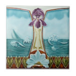 "AN051 Art Nouveau Reproduction Antique Tile<br><div class=""desc"">Historical antique tile reproduced on a smooth surface 4.25&quot; or 6&quot; ceramic tile. Perfect for interior tile wall accents, backsplashes, fireplace surrounds, bathroom and showers walls, kitchens and craft projects. Not intended for outdoor use. Our tiles are copies of costly authentic original antique tiles. Suggestion: Order one tile to review...</div>"