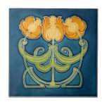 """AN081 Art Nouveau Reproduction Antique Tile<br><div class=""""desc"""">Historical antique tile reproduced on a smooth surface 4.25&quot; or 6&quot; ceramic tile. Perfect for interior tile wall accents, backsplashes, fireplace surrounds, bathroom and showers walls, kitchens and craft projects. Not intended for outdoor use. Our tiles are copies of costly authentic original antique tiles. Suggestion: Order one tile to review...</div>"""