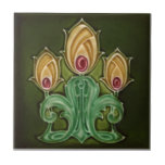 """AN115 Art Nouveau Reproduction Antique Tile<br><div class=""""desc"""">Historical antique tile reproduced on a smooth surface 4.25&quot; or 6&quot; ceramic tile. Perfect for interior tile wall accents, backsplashes, fireplace surrounds, bathroom and showers walls, kitchens and craft projects. Not intended for outdoor use. Our tiles are copies of costly authentic original antique tiles. Suggestion: Order one tile to review...</div>"""