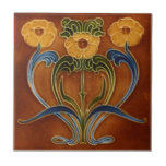 """AN119 Art Nouveau Reproduction Antique Tile<br><div class=""""desc"""">Historical antique tile reproduced on a smooth surface 4.25&quot; or 6&quot; ceramic tile. Perfect for interior tile wall accents, backsplashes, fireplace surrounds, bathroom and showers walls, kitchens and craft projects. Not intended for outdoor use. Our tiles are copies of costly authentic original antique tiles. Suggestion: Order one tile to review...</div>"""