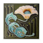 "AN124 Art Nouveau Reproduction Antique Tile<br><div class=""desc"">Historical antique tile reproduced on a smooth surface 4.25&quot; or 6&quot; ceramic tile. Perfect for interior tile wall accents, backsplashes, fireplace surrounds, bathroom and showers walls, kitchens and craft projects. Not intended for outdoor use. Our tiles are copies of costly authentic original antique tiles. Suggestion: Order one tile to review...</div>"