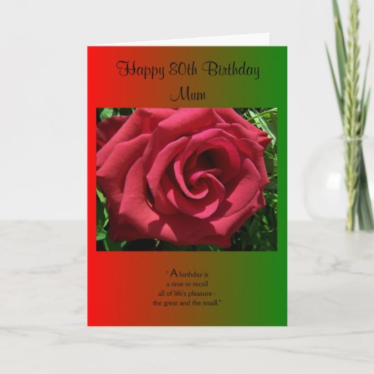 An 80th Birthday Card For A Mother Rose Zazzle