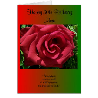 An 80th Birthday Card For A Mother - Rose