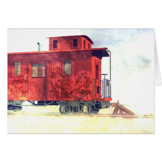 An abandoned caboose greeting card