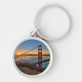 An absolutely stunning sunrise Silver-Colored round keychain