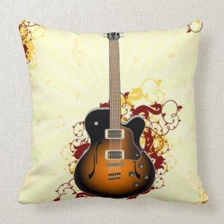 An Abstract Guitar Throw Pillows