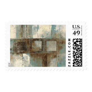 An Abstract in Blue and Brown Stamp