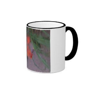 An abstracted photo of an orange day lily ringer coffee mug