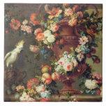 An Abundance of Fruit and Flowers Ceramic Tile
