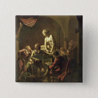 An Academy by Lamplight, c.1768-69 (oil on canvas) Pinback Button