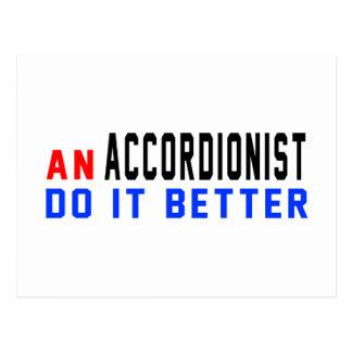 An Accordionist Do it better Postcard