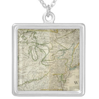 An Accurate Map Of North America Northern section Silver Plated Necklace