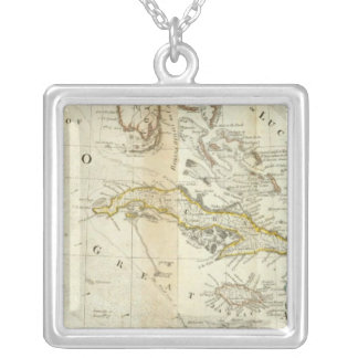 An Accurate Map Of North America Southern section Square Pendant Necklace