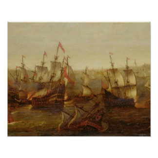 An Action between Spanish Ships and Barbary Galley Poster