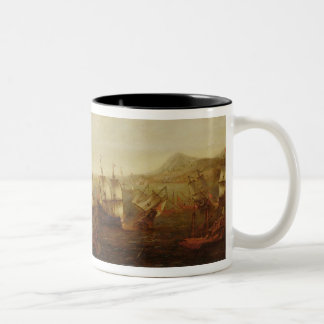 An Action between Spanish Ships and Barbary Galley Two-Tone Coffee Mug