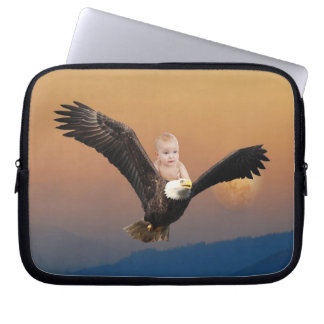 An adorable baby eagle sunset laptop computer sleeve