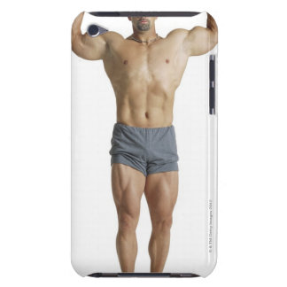 an adult caucasian male bodybuilder holds his iPod Case-Mate case
