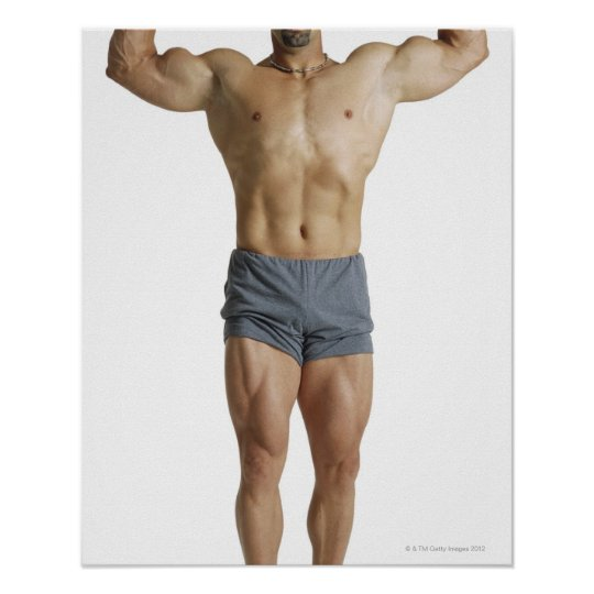 an adult caucasian male bodybuilder holds his poster