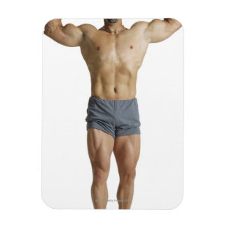 an adult caucasian male bodybuilder holds his rectangular photo magnet