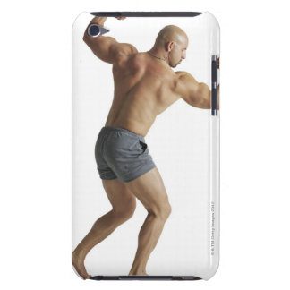 an adult caucasian male bodybuilder shows off barely there iPod cover