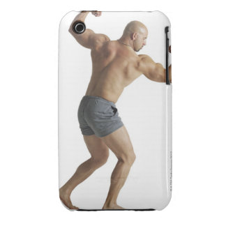 an adult caucasian male bodybuilder shows off iPhone 3 cover