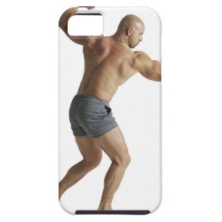 an adult caucasian male bodybuilder shows off iPhone SE/5/5s case