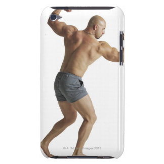 an adult caucasian male bodybuilder shows off iPod touch Case-Mate case