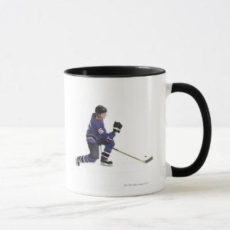 an adult caucasian male hockey player in a blue mug