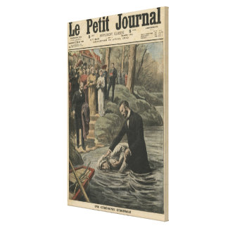 An Adventist baptism in La Marne Canvas Print