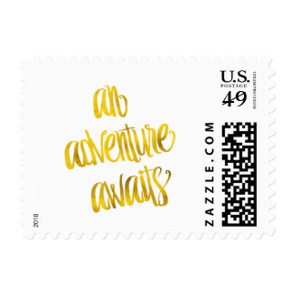 An Adventure Awaits Quote Gold Faux Foil Quotes Postage