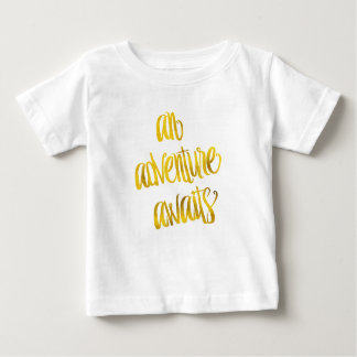 An Adventure Awaits Quote Gold Faux Foil Quotes Tee Shirt