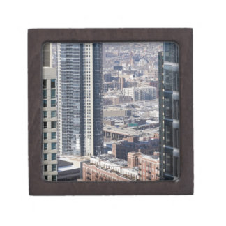 An aerial view of Chicago, looking northwest 2 Keepsake Box