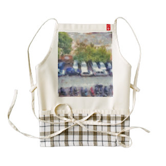 An aerial view of parked cars and bikes zazzle HEART apron
