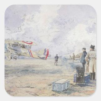 An Aeroplane Taking Off, 1913 Square Sticker