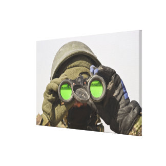 An Afghan soldier scans the horizon Gallery Wrap Canvas