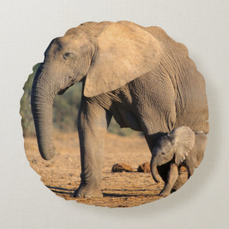 An African Elephant mother and calf on the move Round Pillow