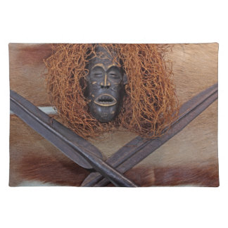 An African mask with a spear on an antelope coat. Cloth Placemat