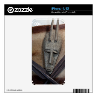 An African mask with a spears Skins For The iPhone 4