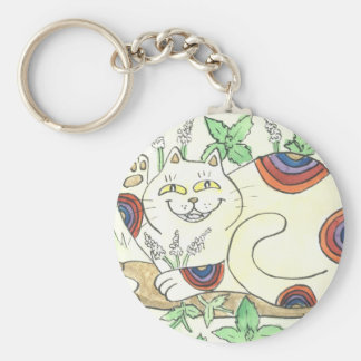 An Afternoon Catnip Break for the Rainbow Neko Keychain