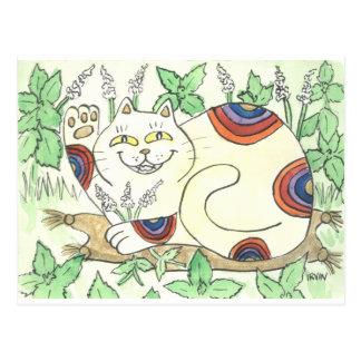 An Afternoon Catnip Break for the Rainbow Neko Postcard