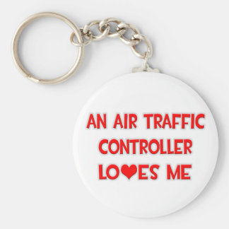 An Air Traffic Controller Loves Me Basic Round Button Keychain