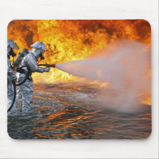 An aircraft rescue firefighting team mouse pad