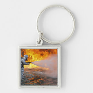An aircraft rescue firefighting team Silver-Colored square keychain