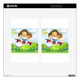 An airplane with three playful kids skin for kindle fire