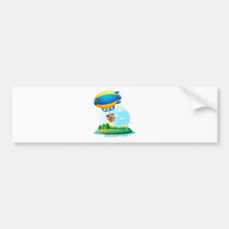 An airship with kids passing over an island car bumper sticker