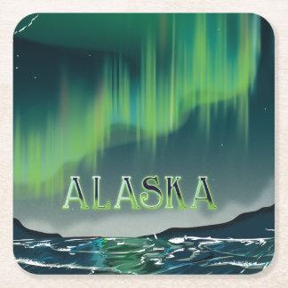 An Alaskan Aurora Vintage Travel poster Square Paper Coaster