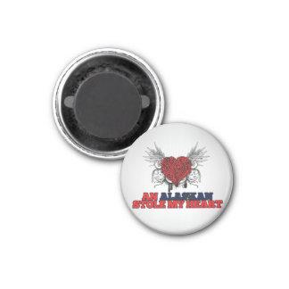An Alaskan Stole my Heart 1 Inch Round Magnet