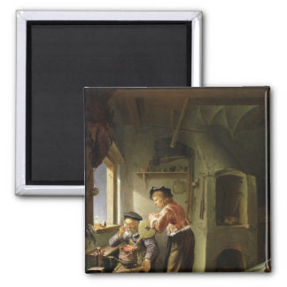 An Alchemist and his Assistant in their Workshop 2 Inch Square Magnet